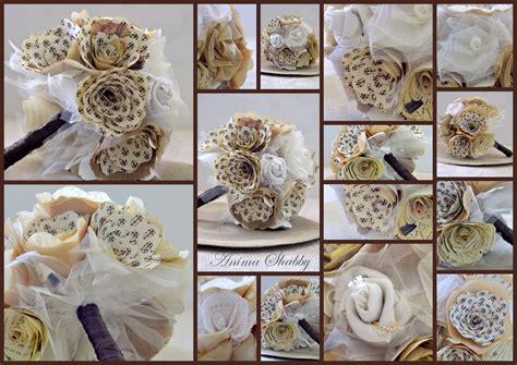 bouquet fiori di carta anima shabby bouquet di fiori di carta e tessuto n 3