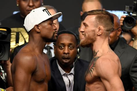 mcgregor tattoo weigh in floyd mayweather vs conor mcgregor weigh in faceoff video