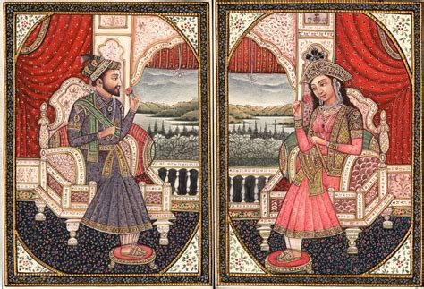 Mughal Miniature Art Emperor Shah Jahan Empress Mumtaz Indian Wedding Magazines Uk