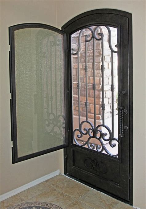 traditional scroll iron entry door   impression