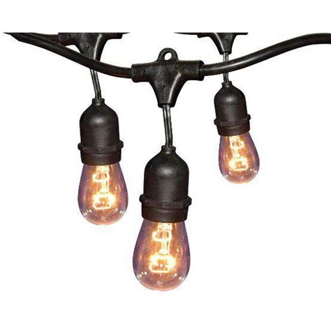 Hton Bay 24 Ft Black Commercial String Light Gls 14j2 Patio String Lights Home Depot