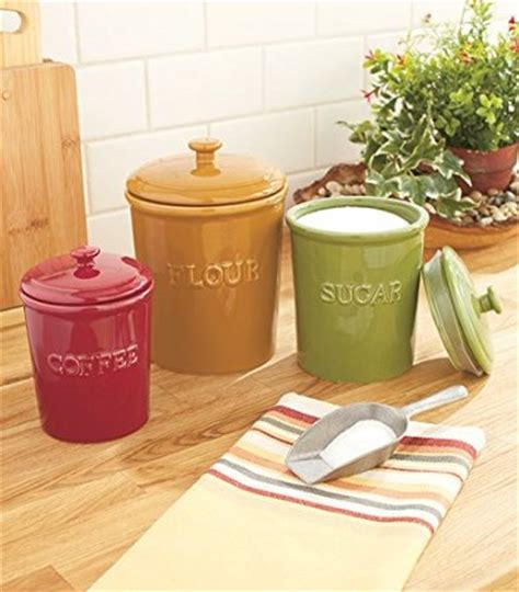 canisters for kitchen counter buy set of 3 canisters flour sugar coffee kitchen storage
