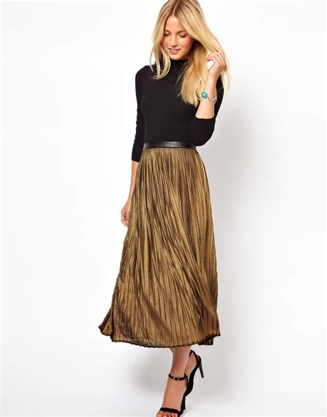 Metallic Pleated Midi Skirt lyst traffic metallic pleated midi skirt in metallic