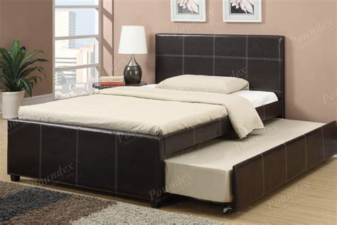 w bed modern twin full bed w trundle espresso colored faux leather bedframe furniture ebay