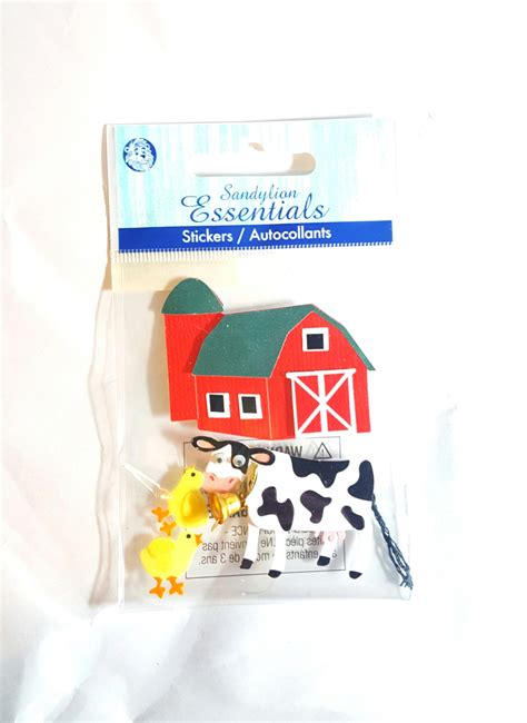 farmhouse cow and chickens scrapbooking stickers essentials from geronimosupplies