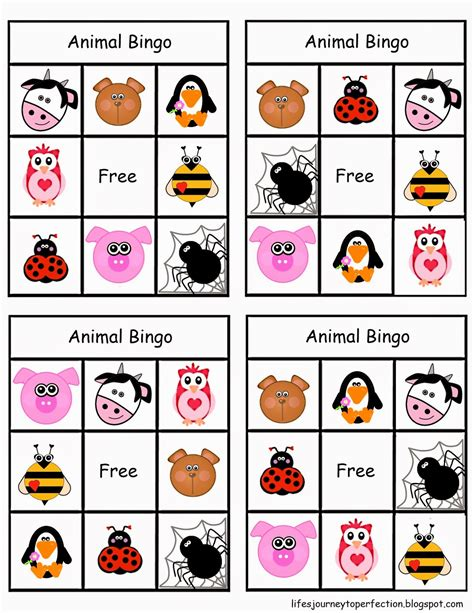 printable animal bingo games life s journey to perfection ideas for primary 1 manual