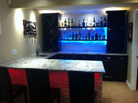 basement bar lighting ideas cold granite bar with led lighting