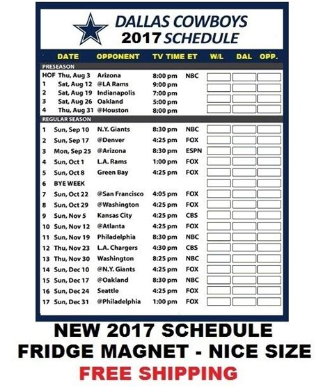 printable schedule for dallas cowboys large size 2017 dallas cowboys nfl football schedule