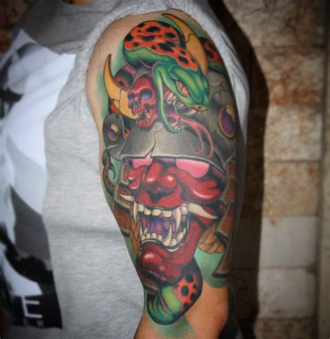 white hannya mask tattoo new school hannya mask tattoo best tattoo ideas gallery