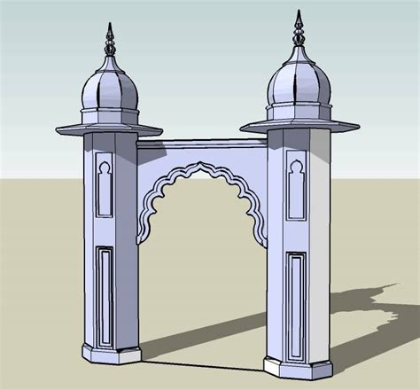 Mosque Entry Gate 3d Plan n Design