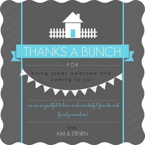 thank you letter housewarming gift bright blue and gray housewarming thank you card