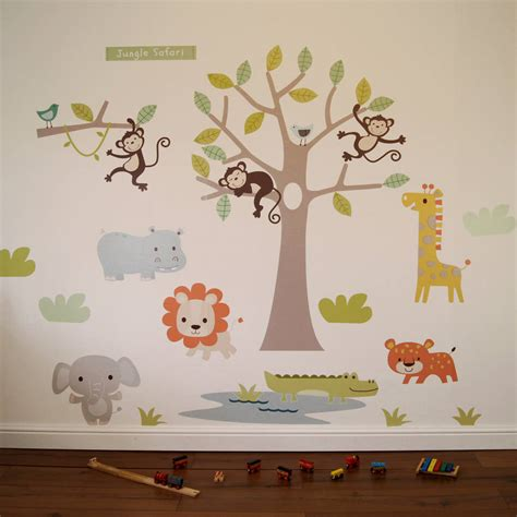 safari wall stickers pastel jungle safari wall stickers by parkins interiors notonthehighstreet