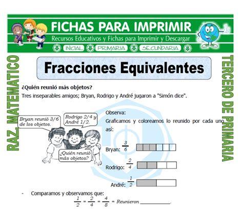 ejercicios de fracciones de cuarto de primaria fracciones equivalentes para tercero de primaria fichas