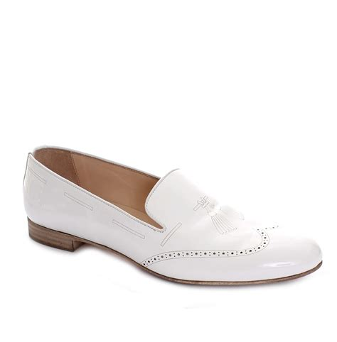 white patent leather loafers pertini white patent leather brogue loafers