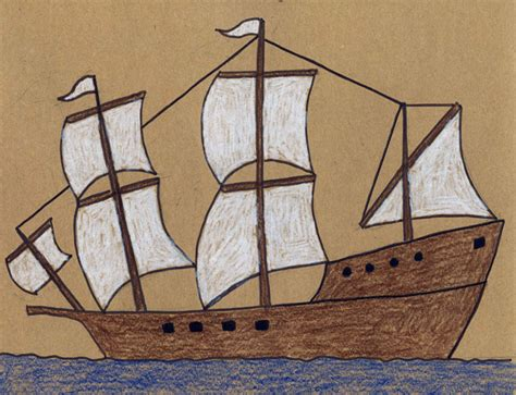 how to draw the mayflower boat draw a mayflower ship art projects for kids