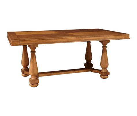 broyhill bethany square trestle dining table in mid tone