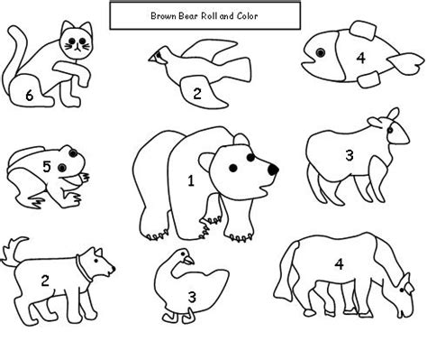 coloring pages for brown bear by eric carle roll and color dice game for bro