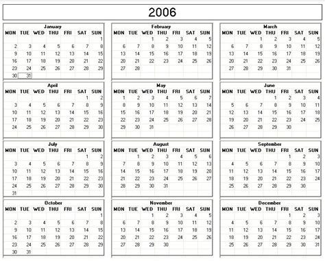 Calendar For 2006 2006 Printable Blank Calendar Calendarprintables Net