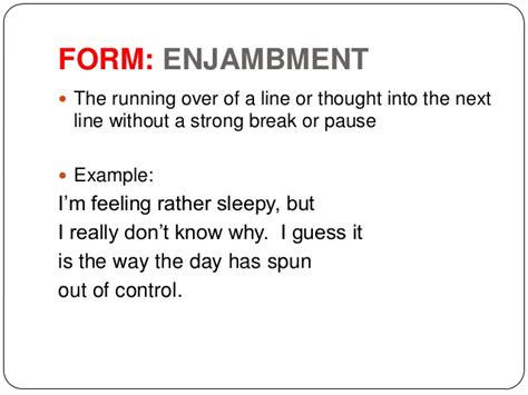 exle of enjambment enjambment definition what is