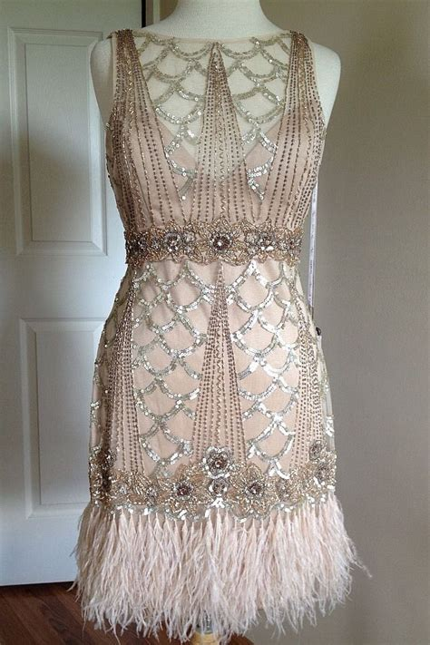 beaded gatsby dress sue wong gatsby 1920 s chagne beaded sequin feather