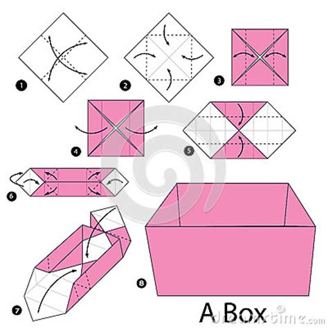How To Make Origami Box Step By Step - step by step how to make origami a box stock