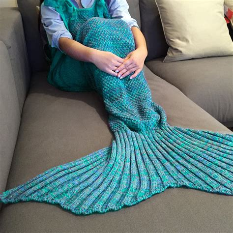 Lake blue stylish drawstring style knitted mermaid design sleeping bag blanket rosegal com