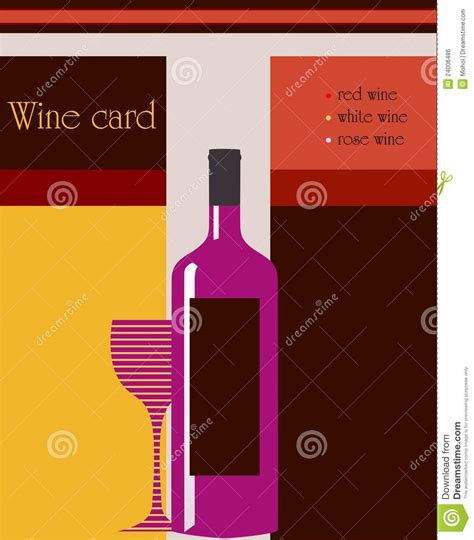 Wine Card Template by Design Template For Restaurant Royalty Free Stock Image