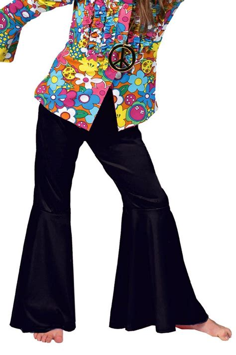 L 845 Black Top Bottom Costume black hippie bell bottoms apple costumes