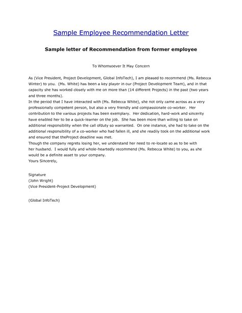 recommendation letter template letter of employment sle template resume builder 1559