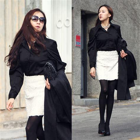Becky Korean Bag becky baek black shoulder point shirt metal tweed