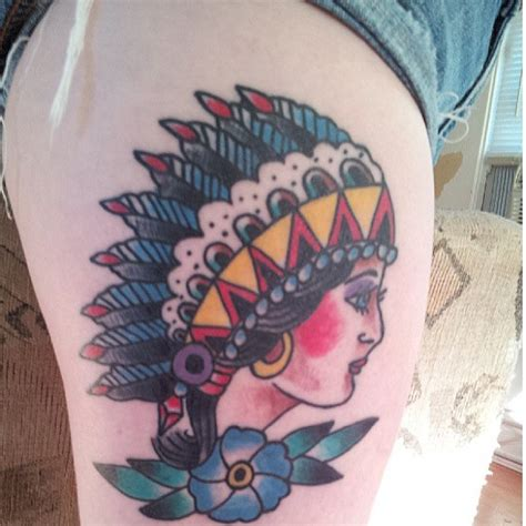 tattoo flower indian colorful woman headress indian flower hip tattoo