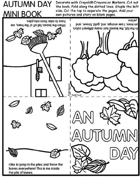 crayola coloring pages autumn leaves autumn day mini book coloring page crayola com