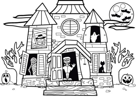 halloween coloring pages of haunted house drawn haunted house outline pencil and in color drawn