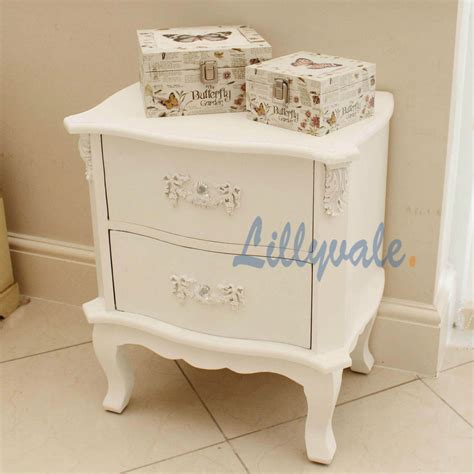 brand new white shabby chic french style bedroom furniture night stand 2 drawers ebay