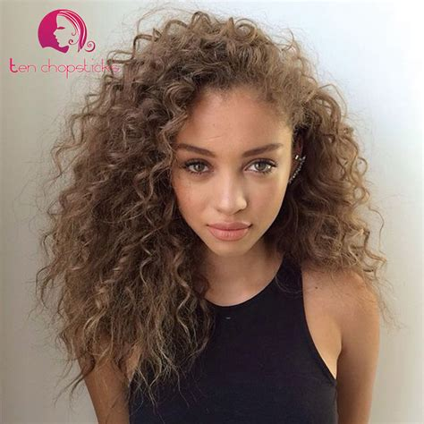 light brown hair for black women light ash brown full lace brazilian virgin wigs afro curly
