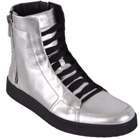 mens silver sneakers new gucci s metallic silver leather high top sneakers