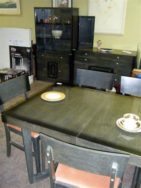 mid century modern asian black lacquer dining room set