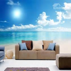 wall scenery murals natural blue sky and seaside scenery pattern home
