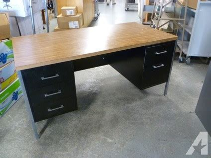 metal desk with laminate top black metal desks with wood laminate top for sale in