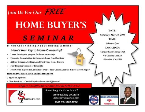 bst realty s free home buyer s seminar with special guest