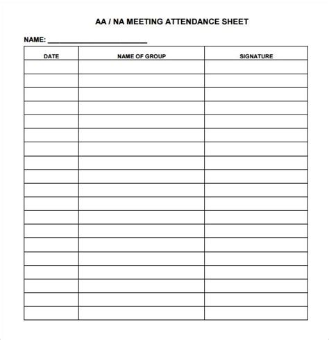 25 Printable Attendance Sheet Templates Excel Word Utemplates Attendance Sign In Sheet Template Word