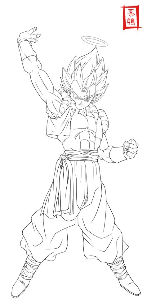 dragon ball z gogeta coloring pages ultimate gogeta lineart by snakou on deviantart
