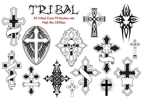 20 tribal cross ps brushes abr free photoshop brushes