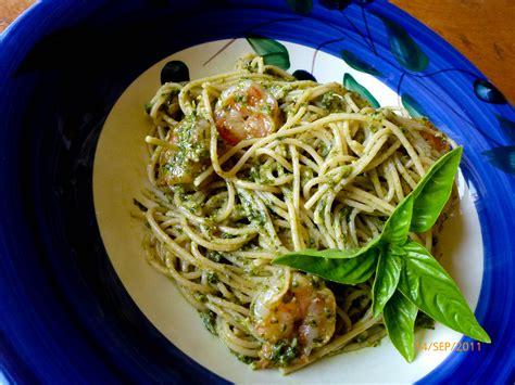 pasta with shrimp and arugula hazelnut pesto our italian