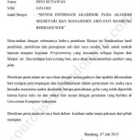 contoh surat pernyataan keaslian skripsi tugas akhir