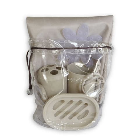 Product Shower Set Bag bath in a bag brown taupe accessory set 1 fabric shower