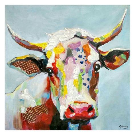 colorful cow painting at home 50 x 50 in colorful cow canvas designing our