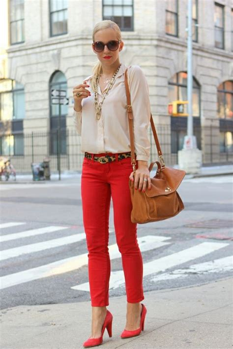 what looks good with red what to wear with red colored jeans glam radar