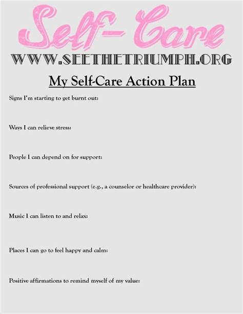 self care plan template develop a quot self care plan quot to make caring for