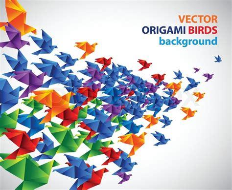 Origami Flying Birds - flying colorful origami birds stock vector colourbox